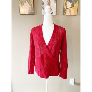 Lafayette 148 Red 100% Linen Wraparound Top